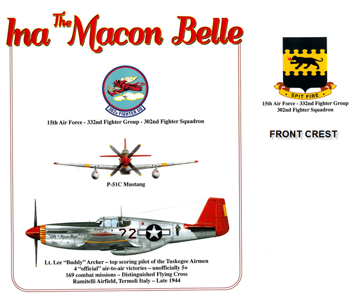 P-51 Mustang - Ina the Macon Belle - 332nd Fighter Group