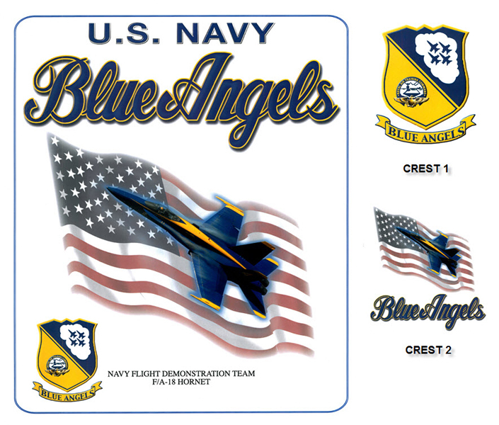 Blue Angels - F-18 Hornet and Flag