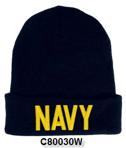 Cap - Navy Embroidered Letter Watch Cap